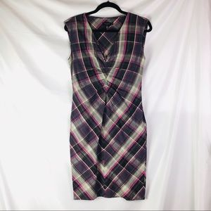 Ted Baker London Purple & Gray Plaid Sheath Dress
